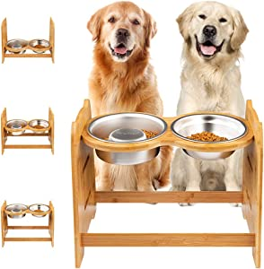 Yangbaga Raised Dog Bowl, Bamboo Elevated Dog Bowl for Dogs and Cats, 3 Adjustable Heights with 2 Stainless Steel Bowls, Comes with Anti-Slip Rubber Feet and Anti-Noise Pieces