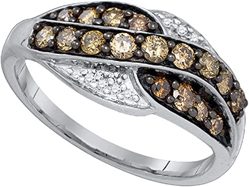 sortija de oro blanco con diamantes marrones