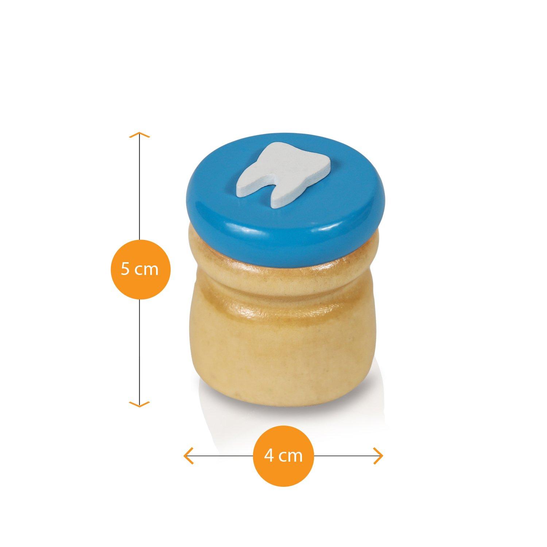 Amazy Caja para dientes de leche incl. pinza y una carta del Hada de los Dientes - Hermoso recipiente de madera para guardar dientes de leche con una carta ...