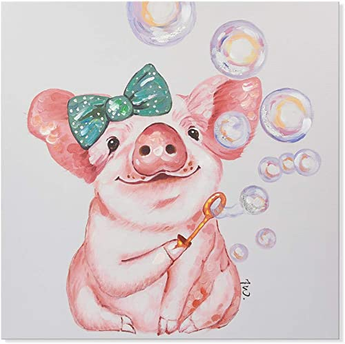 SEVEN WALL ARTS–Modern Animal Cute Pig Artwork for Living Room Bedroom Kids Room Ready to Hang Bubble Blowing Piggie, 20 x 20 Inch