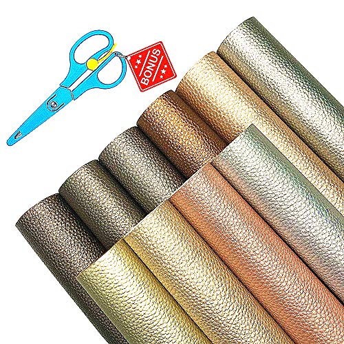 AIVS Solid PU Synthetic Leather Faux Litchi Pattern Leather Sheet【A4 Size】with Free Scissor Perfect for Dressing Sewing Crafting Earring Bow Jewelry Making DIY Projects(Bright Color Leather,10 Colors)