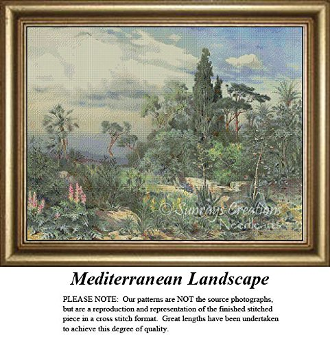 Vintage Cross Stitch Patterns | Mediterranean Landscape