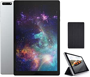 2021 New 10 inch Tablet 5G+2.4G WiFi with case, Octa-Core Tablet, Android 10.1 inch Tablets, 3GB RAM, 32GB ROM, IPS Full HD1920x1200 Display, 5G WiFi, Frosted Metal Body (Silver)