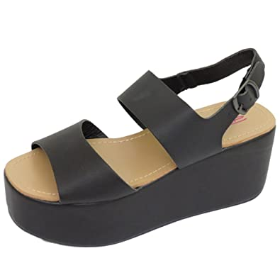 67b831cc95c Dolcis Ladies Black Flatform Platform Chunky Sandals Wedge Shoes Sizes 3-8   Amazon.co.uk  Shoes   Bags