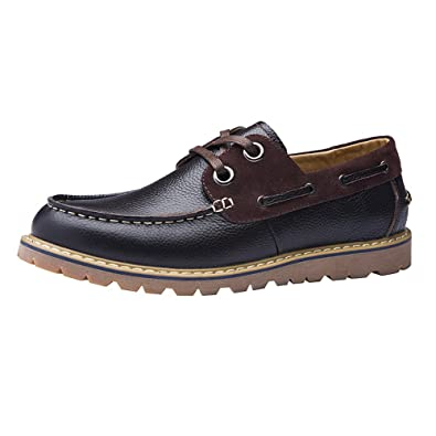 Shenn Mens Work Space Casual Comfort Leather Oxfords Shoes(Coffee US6.5) 1900Z
