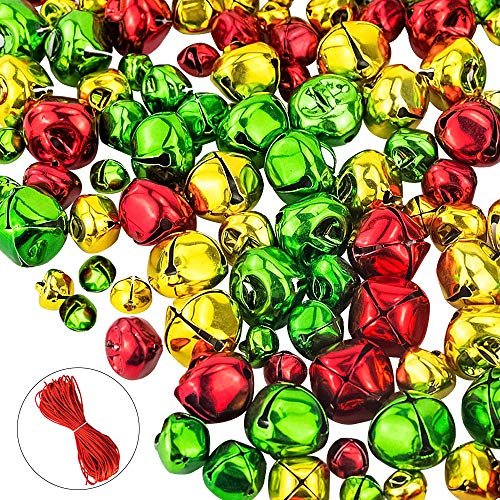 CEWOR 200pcs Jingle Bells Colorful Christmas Metal Bells Craft for Festival Decoration (10mm, 15mm, 20mm) (200pcs)