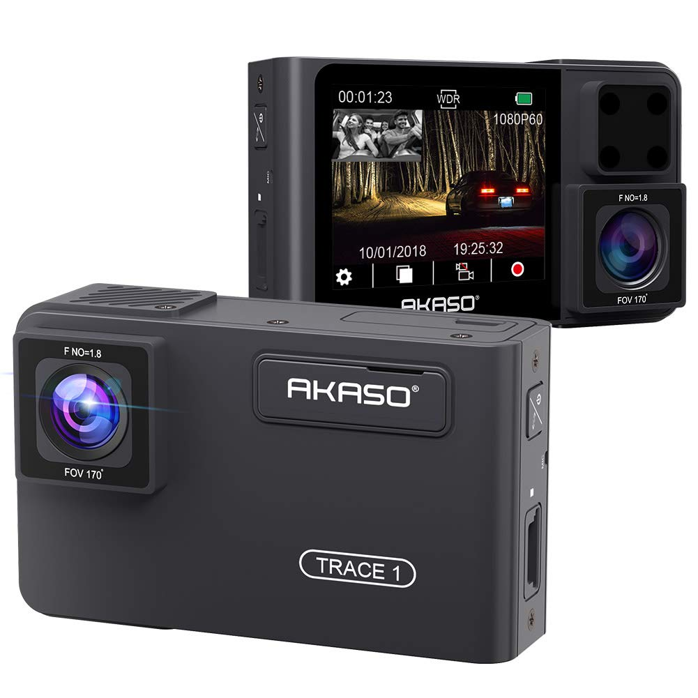 Dual Dash Cam Front and Inside - AKASO Dash Camera for Cars Front 1080p60, Dual 1080p30, 340° Coverage, Infrared Night Vision with Sony STARVIS, Loop Recording, G-Sensor, up to 128GB Card (Trace 1)