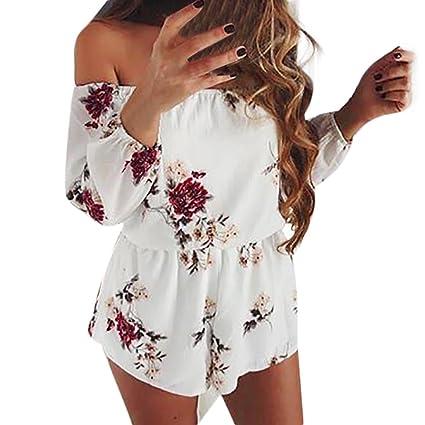 88b8d7c26115 Women Rompers Daoroka Sexy Off Shoulder Plus Size Belt Backless Print Floral  Casual Loose Cute Mini