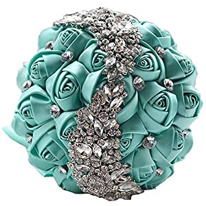 KUKI SHOP Handmade Romantic Silk Roses Meteor Shower Rhinestone Decor Satin Ribbon Wedding Bouquet Bridal Holding Bouquet Bridesmaid Bouqeut Wedding Decoration Flowers 52