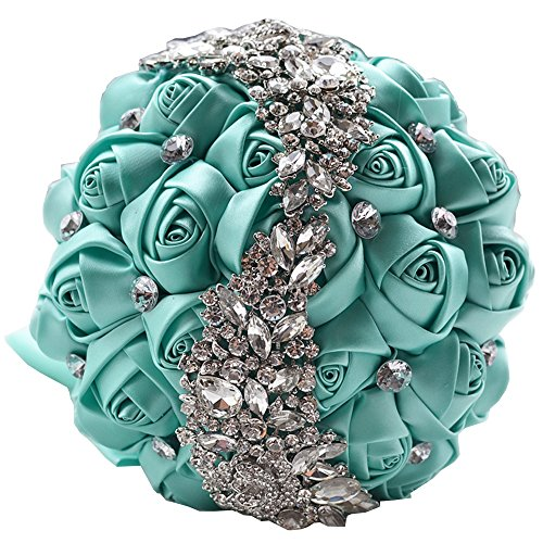 KUKI SHOP Handmade Romantic Silk Roses Meteor Shower Rhinestone Decor Satin Ribbon Wedding Bouquet Bridal Holding Bouquet Bridesmaid Bouqeut Wedding Decoration Flowers (Tiffany Blue) (Bouquet Rose Box Romantic)