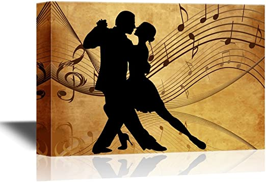 Wall26 Canvas Wall Art Silhouette Of Two Dancers On Rustic Background With Music Notes Gallery Wrap Modern Home Art Ready To Hang 12x18 Inches Posters Prints