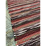 Dark Spicy Shades Red Stripe 75cm x 135cm Rag Rug - Hand Loomed in India by Second Nature Online