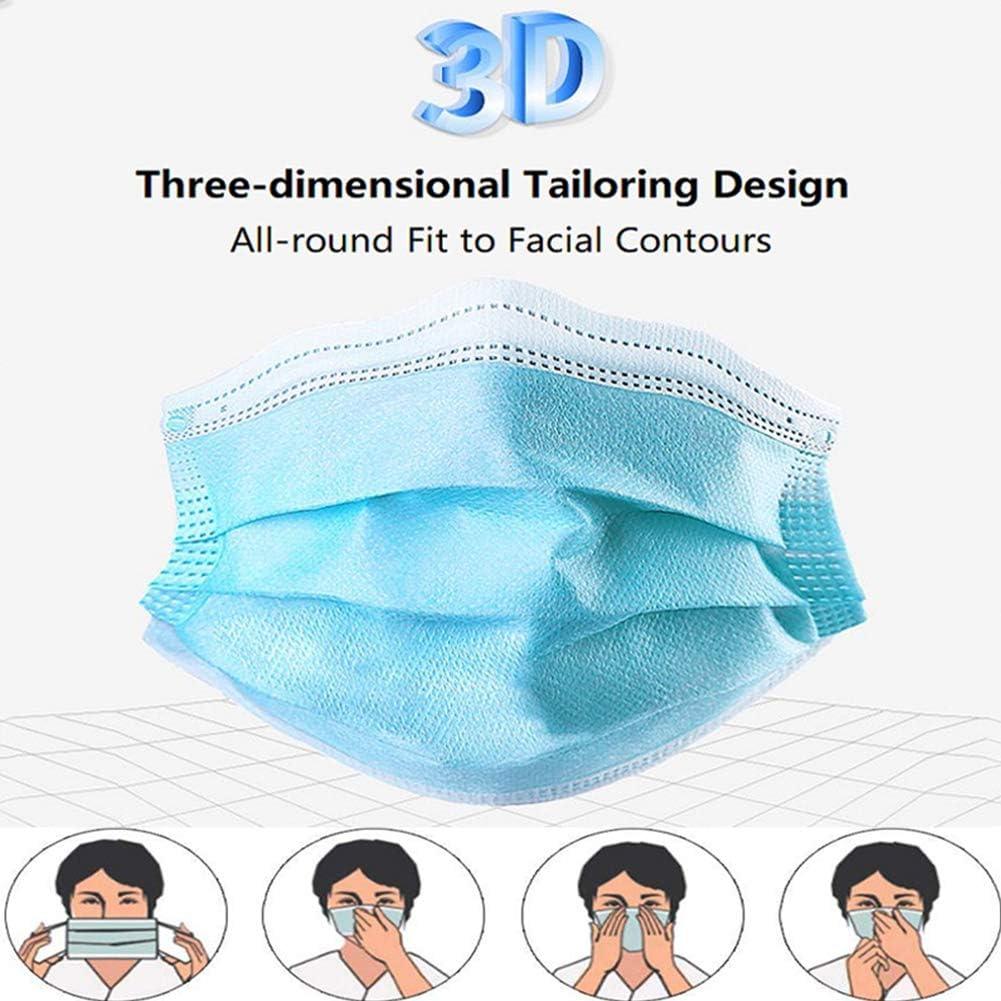 Anti-Saliva Protection from Haze Breathable Face Cover Pollen Awosai ᴍᴀsᴋ 50pcs Pet Dander Unisex Blue