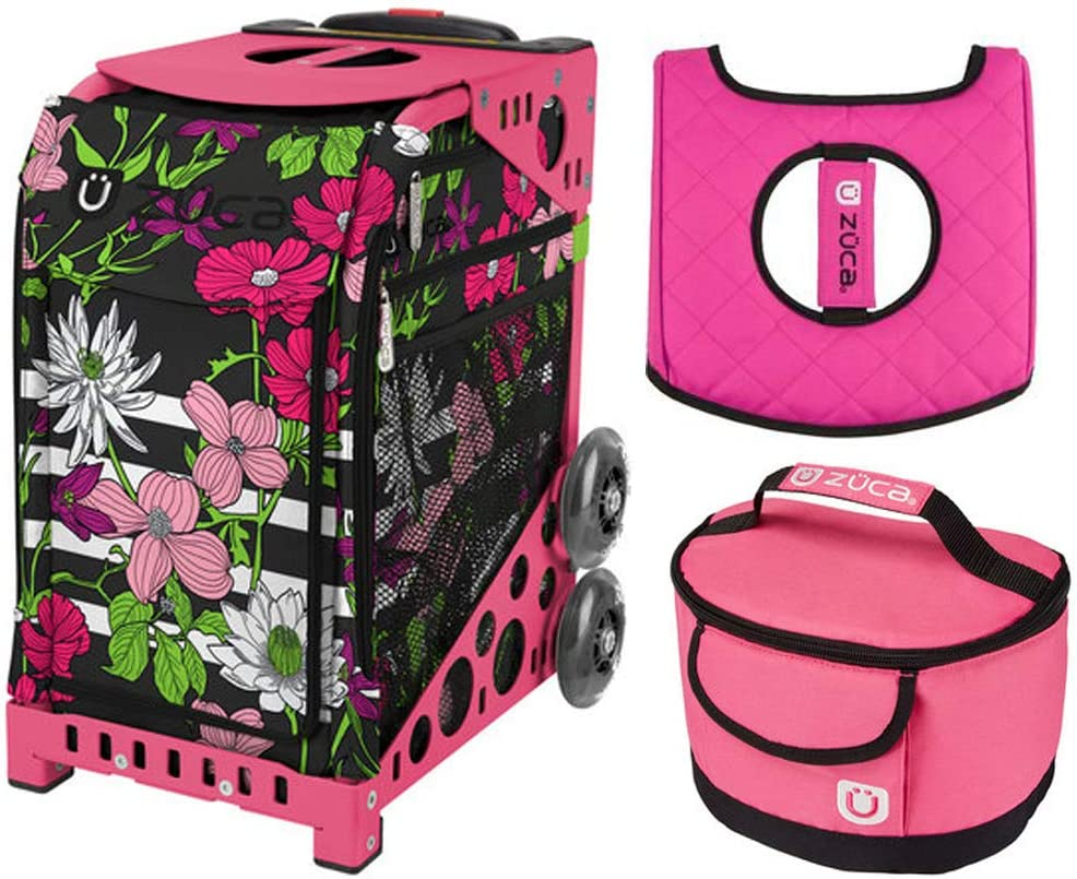Zuca スポーツバッグ – 花びらとストライプ ギフトランチボックスとズカシートカバー(ピンクフレーム)