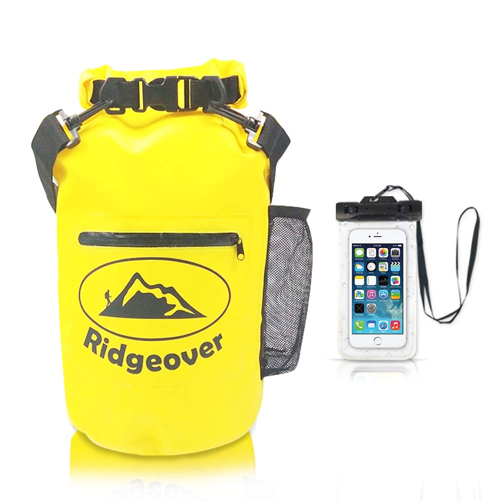 Ridgeover 20L Waterproof Dry Bag for Watersports, 500D Floating Dry Bags for Kayaking, Beach, Rafting, Boating, Swimming, Camping, Watertight Backpack with Waterproof Phone Case