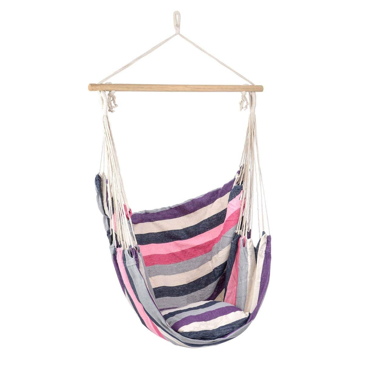Indoor Blue Soft Padded Cushion Lelestar/Small Hammock Swing Chair Outdoor Beach Stripe Cotton Canvas Relaxing Outdoor Garden Seat