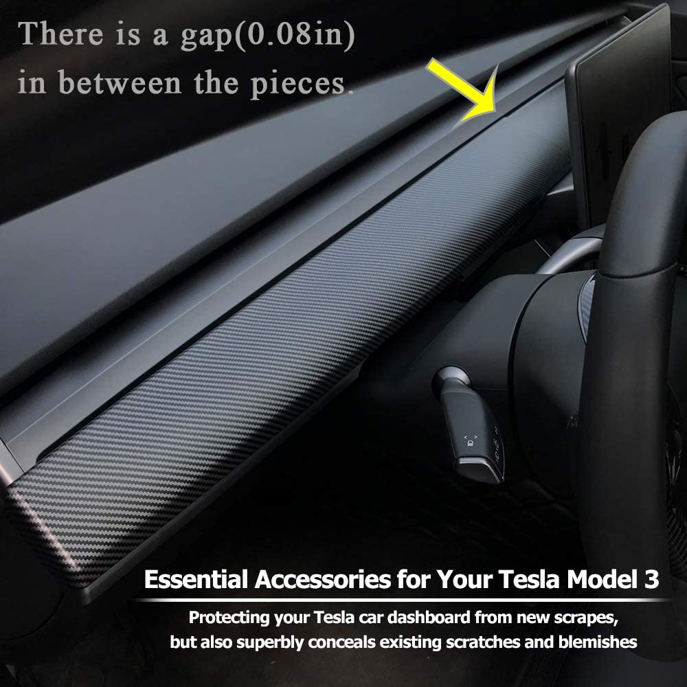LMZX Model 3 Dash Wrap Cover ABS Interior Dashboard Wrap Kit for Tesla Model 3 Dashboard Protection Accessories Matte Carbon Fiber Style