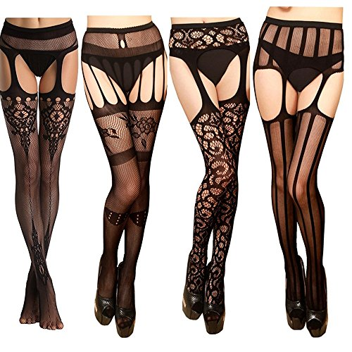 hnet Lace Tights Suspender Pantyhose Stretchy Thigh-High Stockings-Style0178 (Lace Suspender Fishnet)
