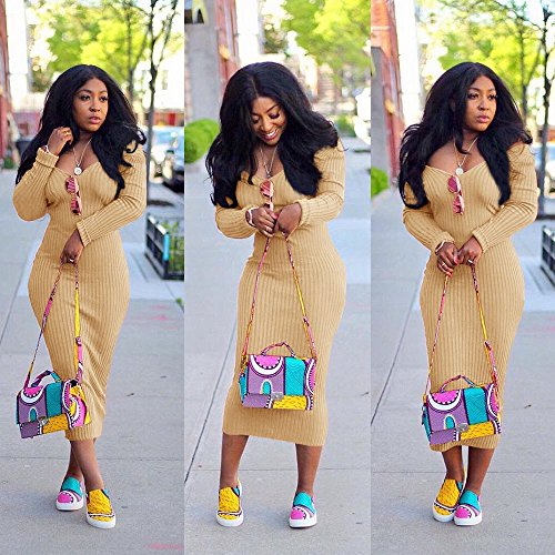 Dresses Casual Tunic Bodycon Off Dresses V Tops Khaki Sweatshirt Long Womens Dress Elegant Neck Shoulder Sleeve U16wqIxqE