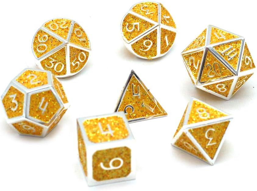 DollaTek Dadi poliedrici in Metallo 7PCS con Custodia Nera per Giochi di Ruolo Dungeons And Dragons Insegnamento di Matematica D/&D Gear Argento e Viola