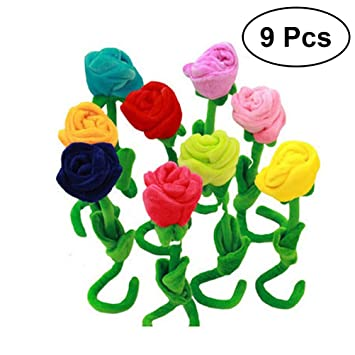 YeahiBaby Peluche Flor Juguete Rosa de flor felpa colorido 30 cm 9 Piezas