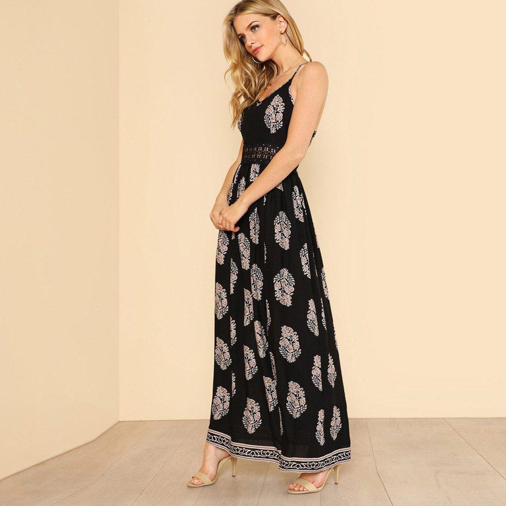a31a18b2fe856 Amazon.com  Women Tunic Tops Dresses Lady Boho Print Split Sleeveless Evening  Party Long Maxi Dress  Clothing
