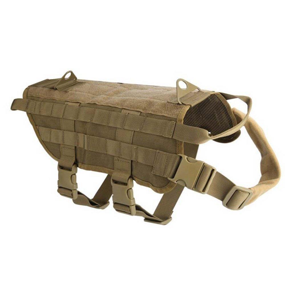 Brown L Brown L Tactical Dog Harness Dog Vest Harness Service Dog vest Dog Molle Vest Rucksack Dog Training