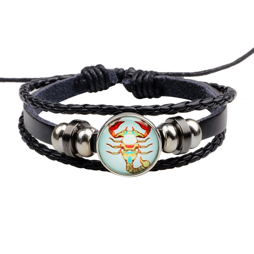 Brilendid Adjustable Zodiac Sign Braided Leather Snap Button Rope Bracelet 12 Constellation Jewelry