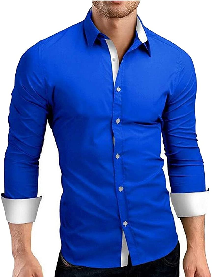 Sweatwater Mens Button Front Non-Iron Inner Contrast Long-Sleeve Slim Shirts