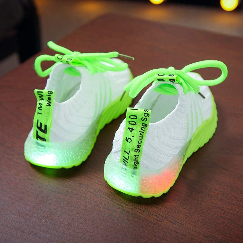 Baskets Enfants LED Allumer Chaussures De Bonbons Couleur L/éger Respirant Facile Marche Easy Tricot Sneakers Confort Clignotant Comme Cadeau 1-6 ans Tyoby