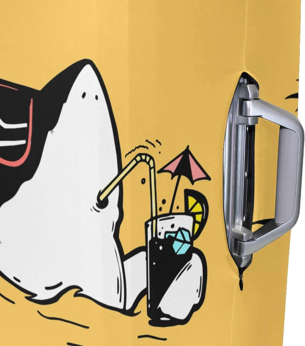 S 18//20//24//28//32 Inch Spandex Travel Luggage Cover Hawaii Shark Print Fashion Creative Design Anti-Scratch Stretchy Travel Suitcase Protector Baggage Covers