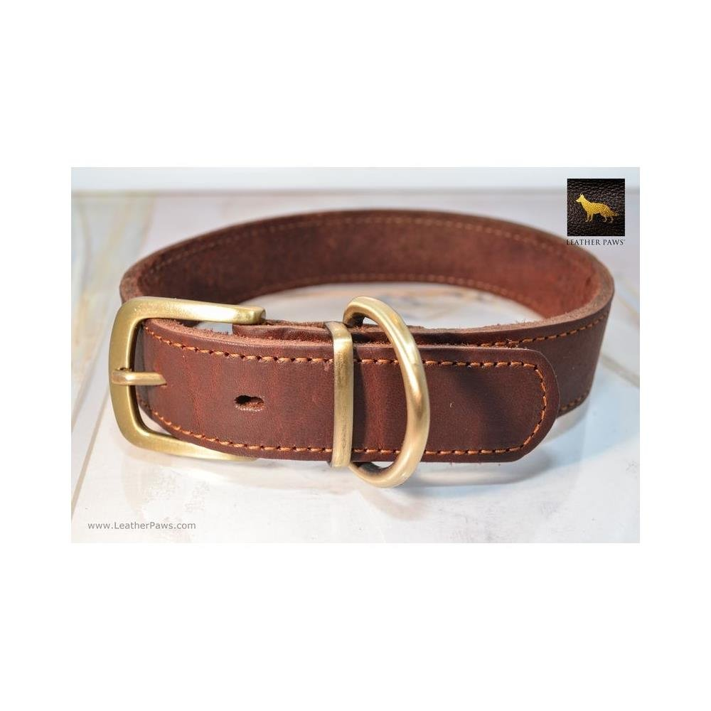 X-Large Leather Paws Rusty Red Oak Leather Collar LP-C-040-XS
