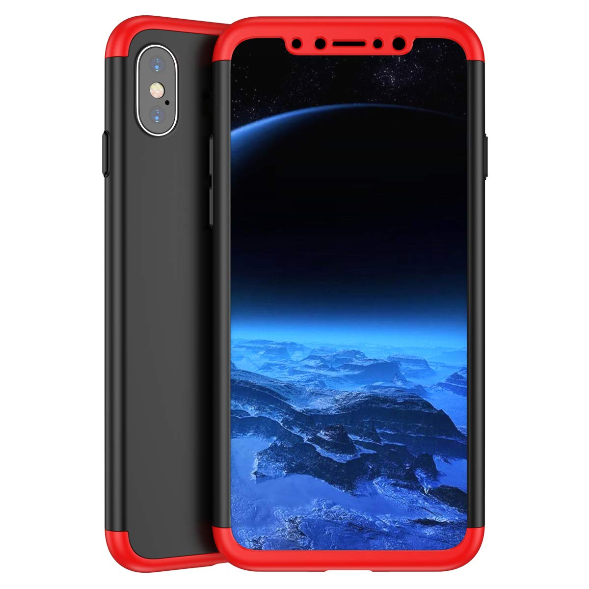 Surakey iPhone X Case Bulletproof Glass 3 in 1 PC Hardcase Hard Case Full Body Case Cover Protective Case Hybrid Phone Case Compatible with iPhone X,Full Cover Gold 360 Degree Cover Full Cover