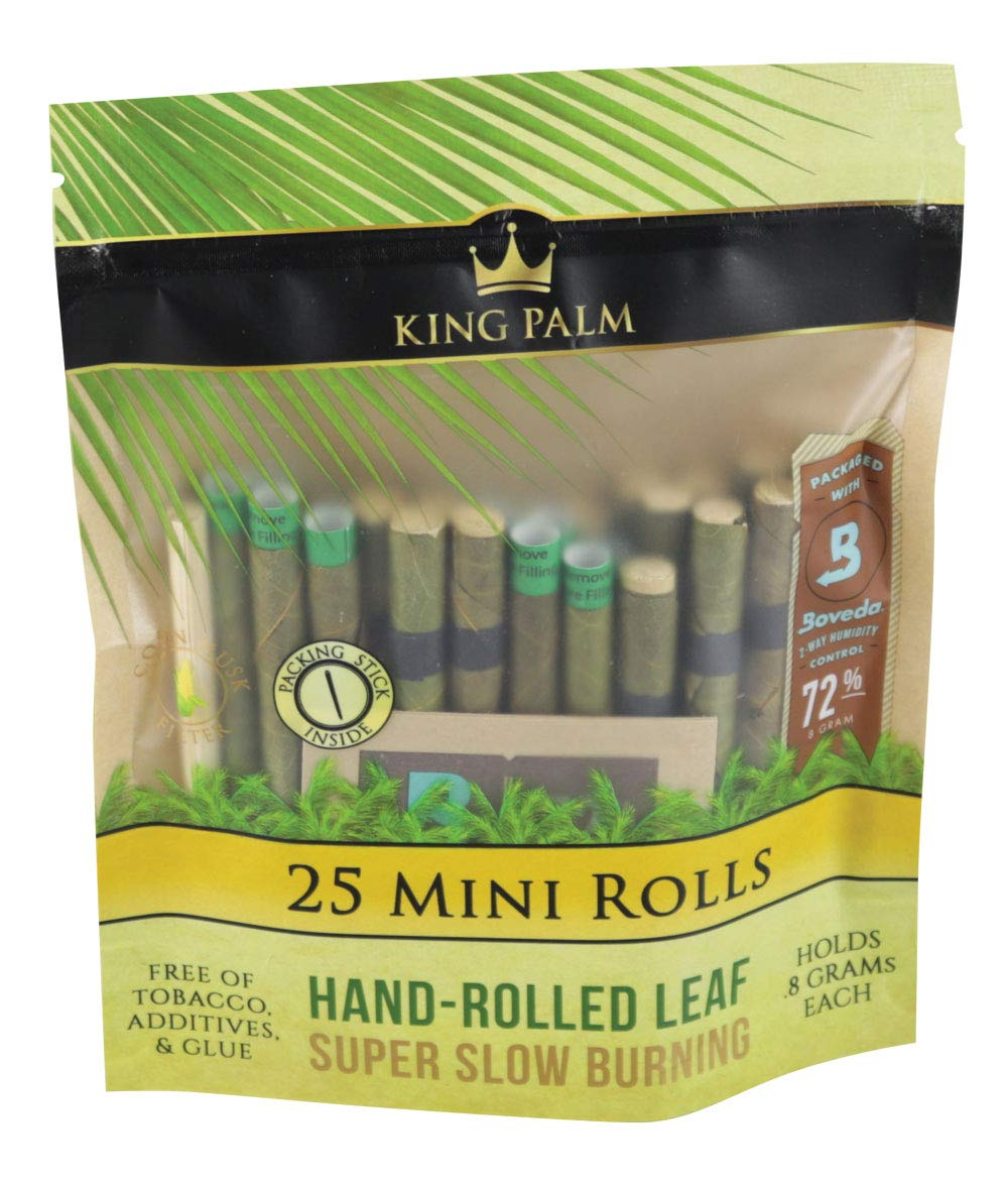 8pc Display - King Palm Hand Rolled Leaf - 25per PK - Mini