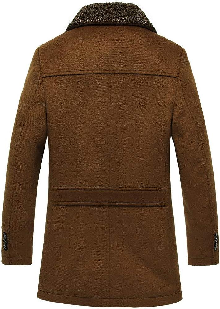 YUTAO Mens Winter Medium Length Woollen Jacket Thickened Single Breasted Detached Coat Trenchcoat