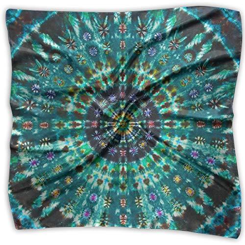 Large Womens Fashion Silk Neck Shawl Square Satin Scarf, Green Mandala Tie Dye Pattern Printed Silky Bandana Head Scarf Sleeping