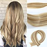 Bleaching Hair Experience - Vario Tape In Hair Extensions 7A Two-tone Colored Hair Bleach Blonde (Color #613) Highlighted with light Golden Brown (Color #12) (16Inche 30g/20PCS #12p613)