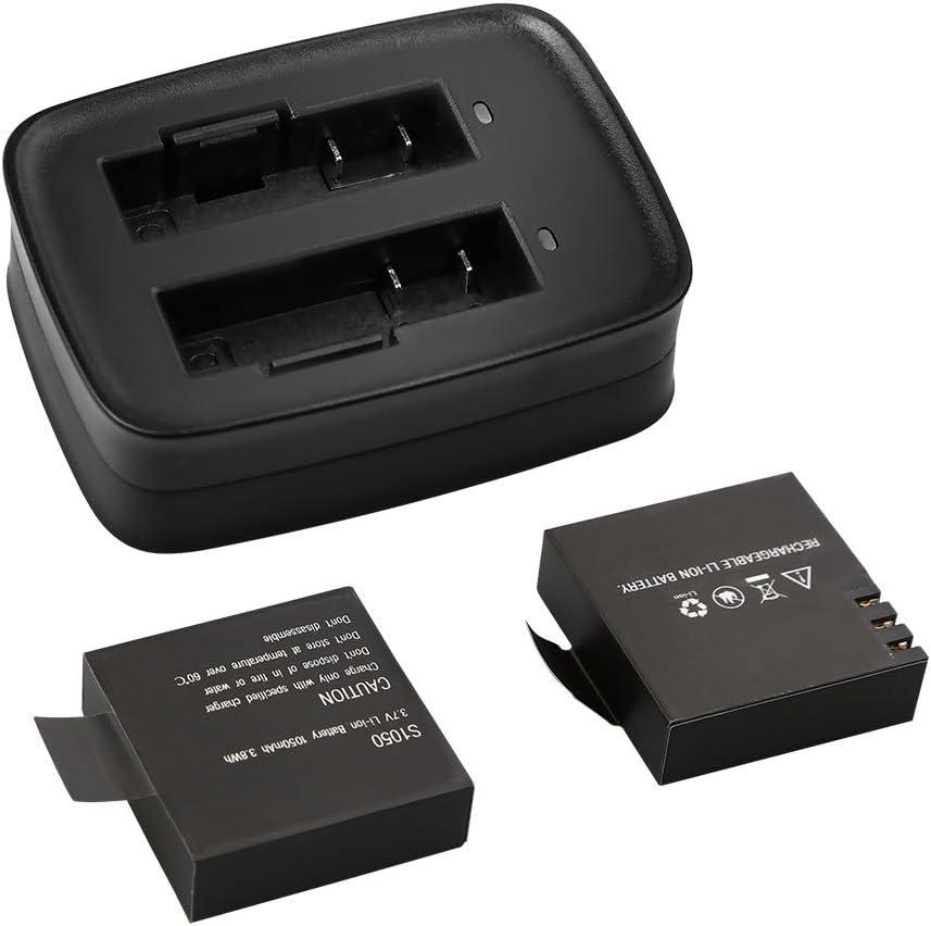 AKASO 2 x 1050mAh Akku Action Kamera Akku mit USB Dual-Ladeger/ät f/ür AKASO V50 V50 Elite Action Cam