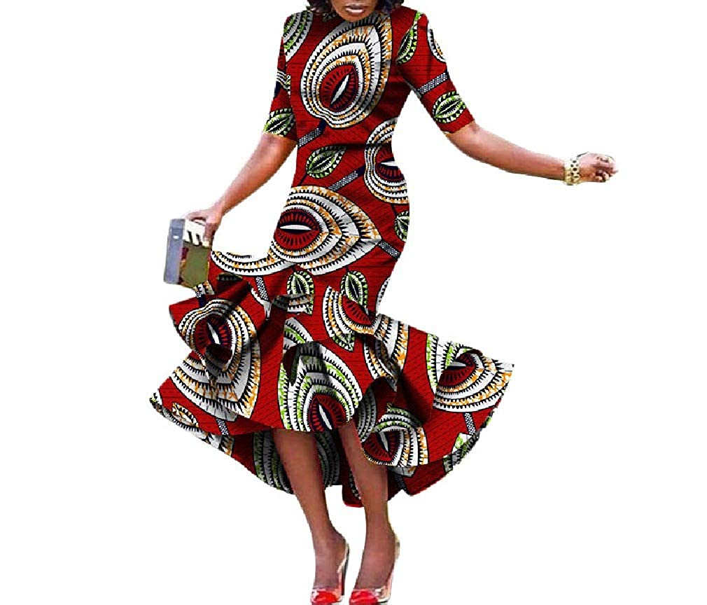 1 Cobama Womens Fishtail Floral African Print Bodycon Long Short Sleeve Dress