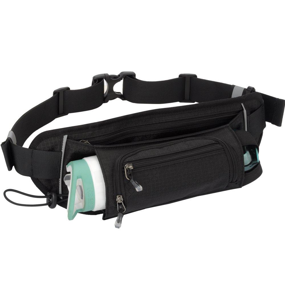 Sport Waist Bag Fanny Pack Black Waterproof, with Water Bottle Holder, for Men Women Running Hiking Cycling Climbing
