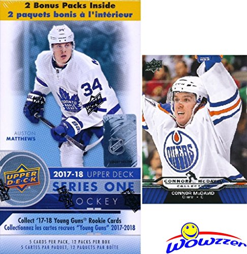 2017/18 Upper Deck Series 1 NHL Hockey EXCLUSIVE HUGE Factory Sealed Blaster Box with 12 Packs PLUS Bonus Connor McDavid ROOKIE! Box Includes TWO(2) Young Guns Rookie Cards! Absolutely Loaded! WOWZZER (Cards Hockey Mvp)