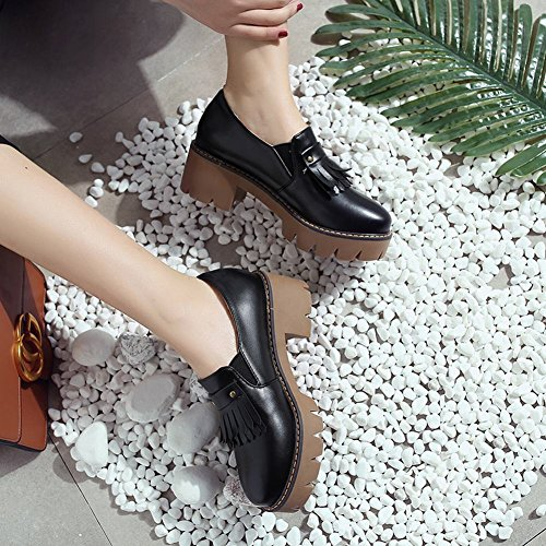 Mid Carolbar Shoes Casual Black Tassels Heel Retro Platform Womens Comfort SX1Xrpq