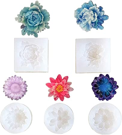 B0 Handmade Resin Mold for Flower Button Beads made from Clear Silicone 4 piece