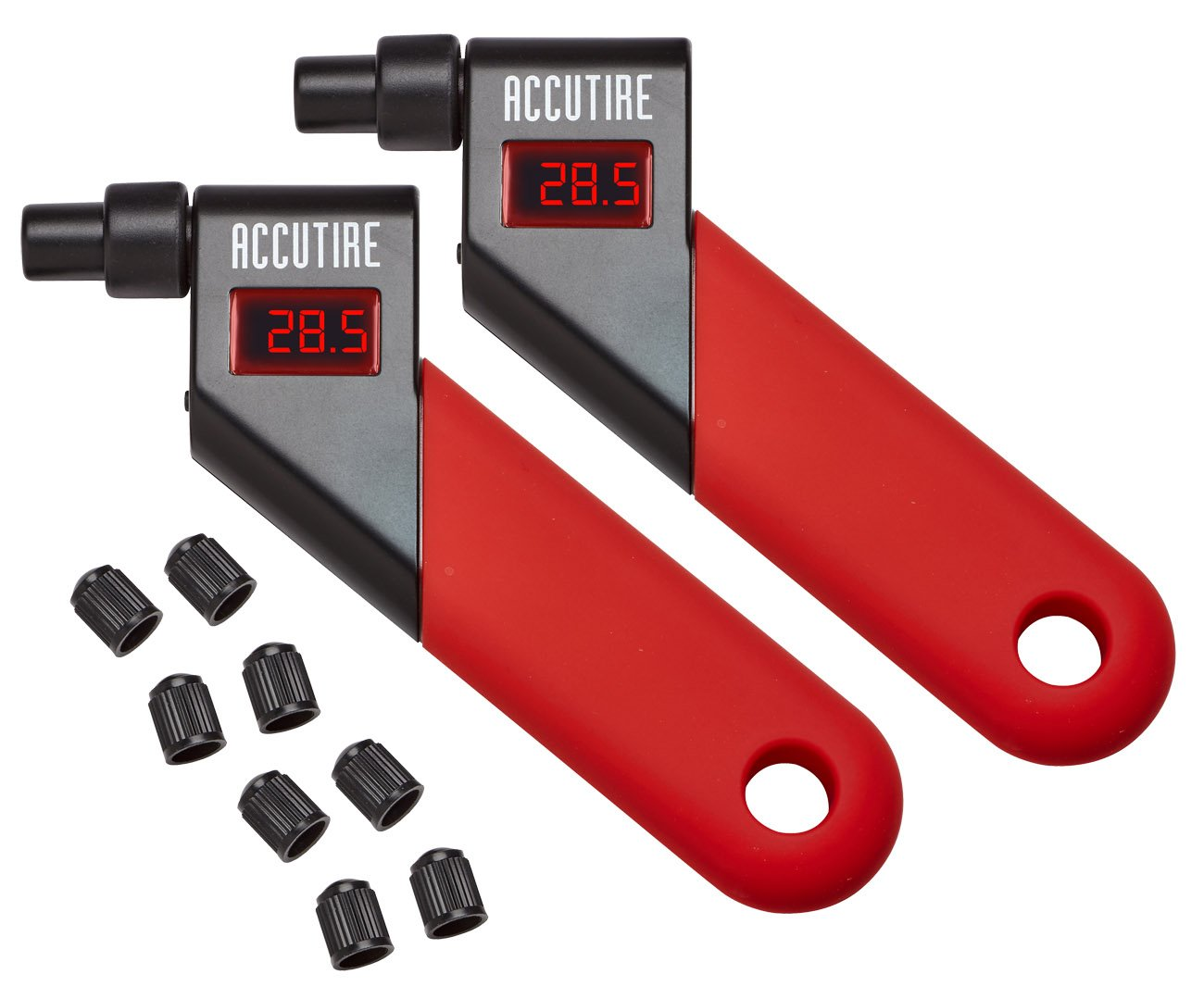 Accutire MS-4021R Digital Tire Pressure Gauge with 8 Valve Caps (2 Pack)