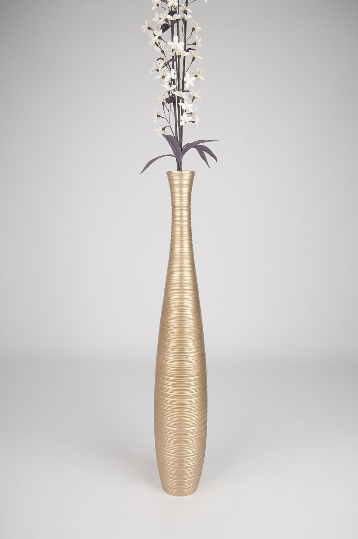 Thai Handmade Tall Floor Vase , Wood, Gold, 6''L x 6''W x 36''H.