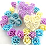 Rose gift, Charming Rose Scent Bath Bomb, 18 Colorful Rose Flower with Heart Gift Box. 9 Purple+6 Yellow+3 Bule