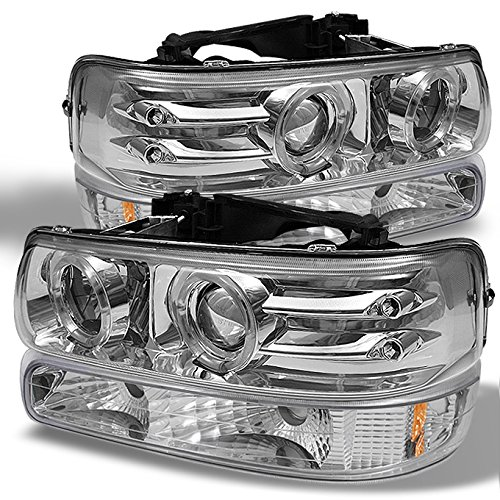 For 99-02 Chevy Silverado 00-06 Suburban Tahoe Z71 SUV Chrome LED Halo Projector Headlights+Chrome Bumper Signal Lamps