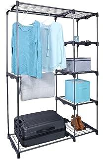 Whitmor Freestanding Portable Closet Organizer U2013 Heavy Duty Black Steel  Frame   Double Rod Wardrobe Cloths