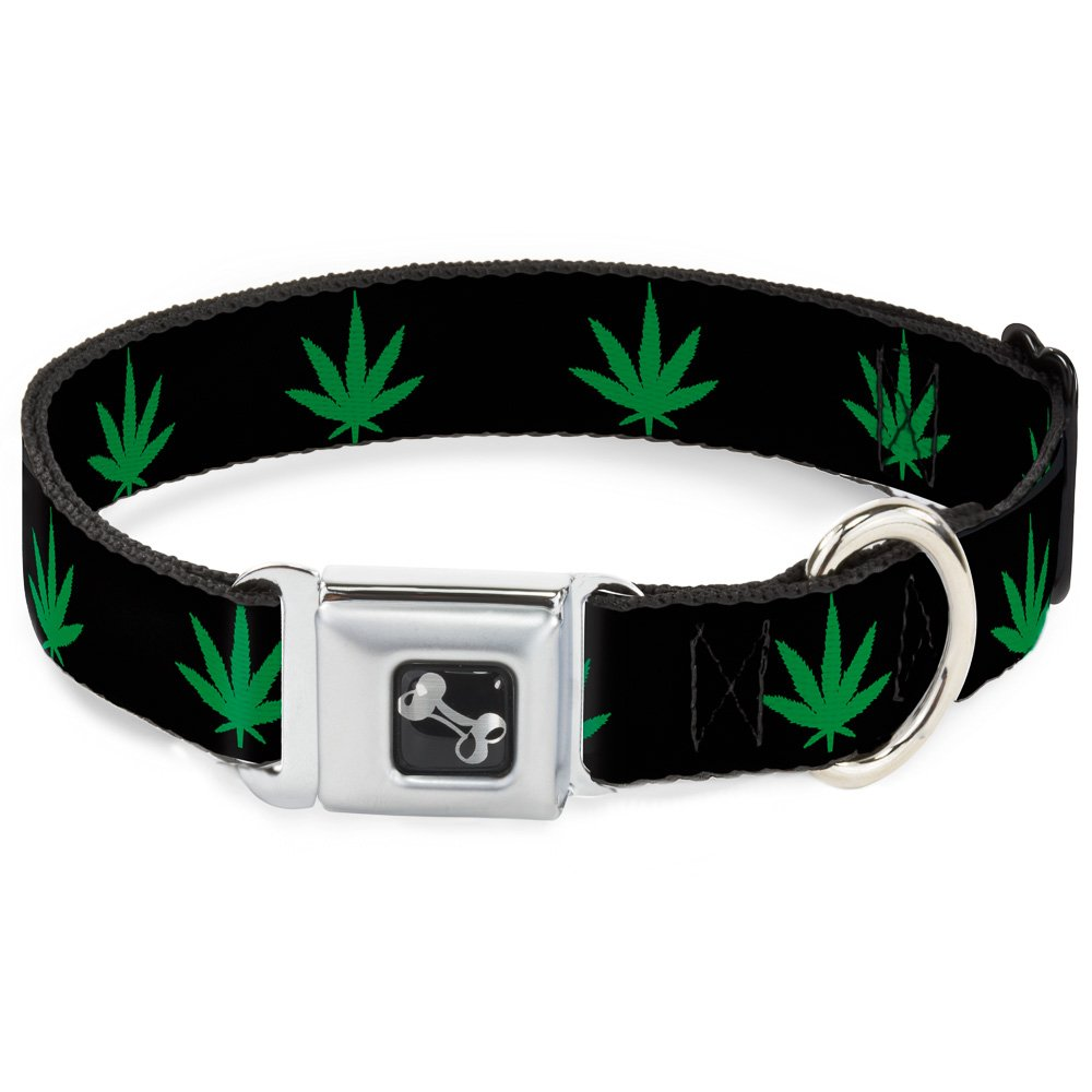 Buckle-Down Seatbelt Buckle Dog Collar Marijuana Leaf Repeat Black Green 1  Wide Fits 9-15  Neck Small