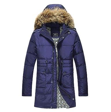 DAFREW Abrigo de abajo para hombre, otoño e invierno Manténgase abrigado Abrigo grueso, Chaqueta de pluma con capucha de sección media y larga: Amazon.es: ...